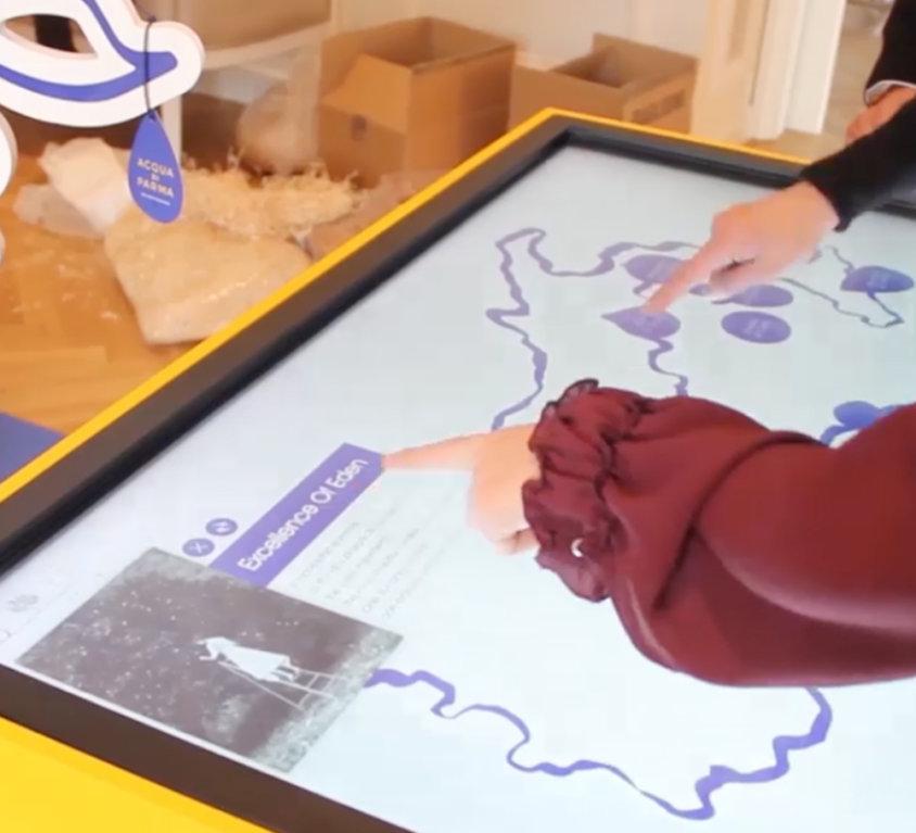 Tavolo interattivo, Acqua di Parma